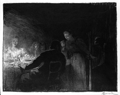 Albert Besnard (French, 1849-1934). <em>La Visiteuse</em>, 1893. Lithograph on wove paper, 14 1/8 x 18 in. (35.8 x 45.7 cm). Brooklyn Museum, Charles Stewart Smith Memorial Fund, 38.354 (Photo: Brooklyn Museum, 38.354_bw.jpg)