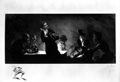 Henri-Patrice Dillon (French, 1851-1909). <em>Mandoliniste (Man Playing Mandolin)</em>, 1893. Lithograph on China paper, laid down on heavy wove paper, 5 1/2 x 12 in. (13.9 x 30.5 cm). Brooklyn Museum, Charles Stewart Smith Memorial Fund, 38.355 (Photo: Brooklyn Museum, 38.355_bw.jpg)