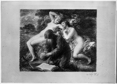 Henri Fantin-Latour (French, 1836-1904). <em>La Tentation de Saint Antoine</em>, 1893. Lithograph on laid paper, Image: 12 3/4 x 15 3/4 in. (32.4 x 40 cm). Brooklyn Museum, Charles Stewart Smith Memorial Fund, 38.356 (Photo: Brooklyn Museum, 38.356_acetate_bw.jpg)