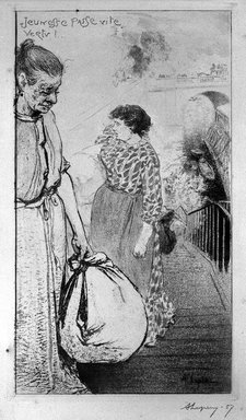 Auguste-Louis Lepère (French, 1849-1918). <em>Les Laveuses (Jeunesse Passe Vite Vertu)</em>, 1893. Etching and aquatint on wove paper, 15 7/16 x 9 1/16 in. (39.2 x 23 cm). Brooklyn Museum, Charles Stewart Smith Memorial Fund, 38.357 (Photo: Brooklyn Museum, 38.357_bw.jpg)
