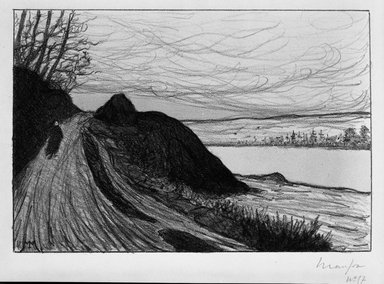 Maxime Maufra (French, 1861-1918). <em>La Route de Gaud</em>, 1893. Lithograph on wove paper, 7 3/4 x 11 7/16 in. (19.7 x 29.1 cm). Brooklyn Museum, Charles Stewart Smith Memorial Fund, 38.359 (Photo: Brooklyn Museum, 38.359_bw.jpg)