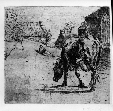 Victor Paul Vignon (French, 1847-1909). <em>La Vache (A country scene - a cow in the foreground)</em>, 1893. Etching some drypoint and roulette on laid paper, 9 13/16 x 10 5/8 in. (25 x 27 cm). Brooklyn Museum, Charles Stewart Smith Memorial Fund, 38.362 (Photo: Brooklyn Museum, 38.362_bw.jpg)