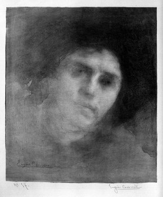 Eugène Carrière (French, 1849-1906). <em>Madame Eugène Carrière</em>, 1893. Lithograph on China paper laid down, 15 3/8 x 13 3/8 in. (39.1 x 34 cm). Brooklyn Museum, Charles Stewart Smith Memorial Fund, 38.365 (Photo: Brooklyn Museum, 38.365_bw.jpg)