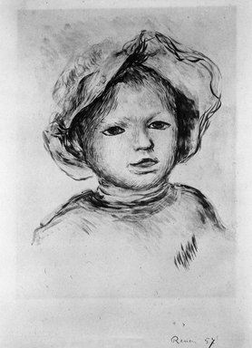 Pierre-Auguste Renoir (French, 1841-1919). <em>Child's Head (Tête d'enfant)</em>, ca. 1893. Lithograph on China paper, 11 1/8 x 9 1/8 in. (28.2 x 23.2 cm). Brooklyn Museum, Charles Stewart Smith Memorial Fund, 38.370 (Photo: Brooklyn Museum, 38.370_bw.jpg)