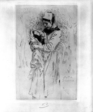 Félicien Rops (Belgian, 1833-1898). <em>Mater Dolorosa</em>, 1893. Etching and drypoint on laid paper, 5 7/8 x 4 in. (15 x 10.1 cm). Brooklyn Museum, Charles Stewart Smith Memorial Fund, 38.372 (Photo: Brooklyn Museum, 38.372_bw.jpg)