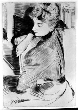Paul-César Helleu (French, 1859-1927). <em>Meditation</em>, 1894. Drypoint on laid paper, 11 x 7 13/16 in. (27.9 x 19.8 cm). Brooklyn Museum, Charles Stewart Smith Memorial Fund, 38.379 (Photo: Brooklyn Museum, 38.379_bw.jpg)