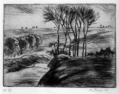 Camille Jacob Pissarro (French, 1830-1903). <em>Landscape at Osny (Paysage à Osny)</em>, 1887. Etching on laid paper, 4 9/16 x 6 3/16 in. (11.6 x 15.7 cm). Brooklyn Museum, Charles Stewart Smith Memorial Fund, 38.380 (Photo: Brooklyn Museum, 38.380_bw.jpg)