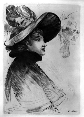 Henri Somm (French, 1844-1907). <em>Tete de Parisienne</em>, 1894. Drypoint on laid Arches paper, Sheet: 23 3/4 x 17 1/8 in. (60.3 x 43.5 cm). Brooklyn Museum, Charles Stewart Smith Memorial Fund, 38.382 (Photo: Brooklyn Museum, 38.382_bw.jpg)