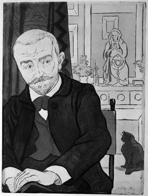 Eugène Delatre (French, 1864-1938). <em>Portrait de Huysmans</em>, 1894. Etching and aquatint in colors, 12 5/8 x 9 7/16 in. (32.1 x 24 cm). Brooklyn Museum, Charles Stewart Smith Memorial Fund, 38.384 (Photo: Brooklyn Museum, 38.384_bw.jpg)