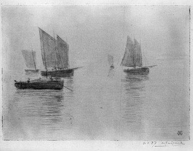 Henri-Charles Guérard (French, 1846-1897). <em>Bateaux dans le brouillard</em>, 1894. Soft ground etching on laid paper, 17 5/8 x 8 1/16 in. (44.8 x 20.5 cm). Brooklyn Museum, Charles Stewart Smith Memorial Fund, 38.388 (Photo: Brooklyn Museum, 38.388_bw.jpg)
