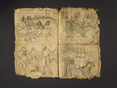 Attributed to Miguel de Santa María Moteczozomatzin. <em>Codex of San Cristóbal Coyotepec</em>, ca. 1710. Amate (fig tree bark paper), ink, watercolor, 16 3/8 x 10 7/16in. (41.6 x 26.5cm). Brooklyn Museum, A. Augustus Healy Fund, 38.3. Creative Commons-BY (Photo: Brooklyn Museum, 38.3_no7_SL3.jpg)