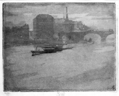 Joseph Pennell (American, 1860-1926). <em>Mist on the Thames (La Tamise)</em>. Aquatint, Image: 8 1/4 x 10 3/8 in. (21 x 26.3 cm). Brooklyn Museum, Charles Stewart Smith Memorial Fund, 38.409 (Photo: Brooklyn Museum, 38.409_bw.jpg)