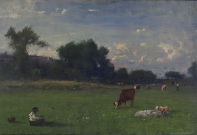 George Inness (American, 1825-1894). <em>Landscape</em>, ca. 1882-1883. Oil on board, 16 x 23 13/16 in. (40.7 x 60.5 cm). Brooklyn Museum, Gift of the Cranford family in memory of Walter Vey Cranford, 38.40 (Photo: Brooklyn Museum, 38.40_PS11.jpg)