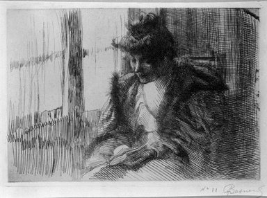 Albert Besnard (French, 1849-1934). <em>La Liseuse devant la Fenêtre</em>, 1888. Etching on laid paper, 5 1/2 x 7 11/16 in. (13.9 x 19.5 cm). Brooklyn Museum, Charles Stewart Smith Memorial Fund, 38.415 (Photo: Brooklyn Museum, 38.415_bw.jpg)