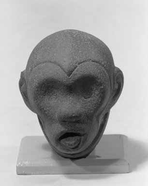 Aztec. <em>Head of a Monkey</em>, ca. 1440-1521. Stone, 3 x 4 1/2 x 3 3/4in. (7.6 x 11.4 x 9.5cm). Brooklyn Museum, Carll H. de Silver Fund, 38.44. Creative Commons-BY (Photo: Brooklyn Museum, 38.44_front_view1_acetate_bw.jpg)