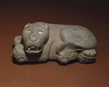 Mexica (Aztec). <em>Reclining Jaguar</em>, 1400-1521. Volcanic stone, 5 x 11 x 5 3/4 in. (12.7 x 27.9 x 14.6 cm). Brooklyn Museum, Carll H. de Silver Fund, 38.45. Creative Commons-BY (Photo: Brooklyn Museum, 38.45_SL1.jpg)