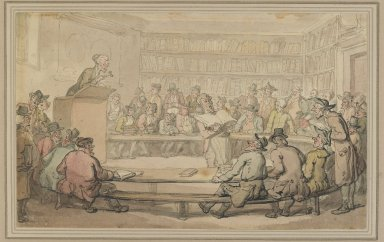Thomas Rowlandson (British, 1756-1827). <em>A Book Auction at Sotheby's</em>, ca. 1810-1815. Wash drawing on heavy paper pasted down, 5 3/4 x 9 5/16 in. (14.6 x 23.6 cm). Brooklyn Museum, A. Augustus Healy Fund, 38.47 (Photo: Brooklyn Museum, 38.47_PS2.jpg)
