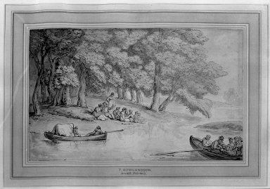 Thomas Rowlandson (British, 1756-1827). <em>River Picnic</em>, ca. 1805-1810. Wash drawing on heavy paper pasted down, 5 11/16 x 9 5/16 in. (14.5 x 23.6 cm). Brooklyn Museum, A. Augustus Healy Fund, 38.48 (Photo: Brooklyn Museum, 38.48_acetate_bw.jpg)