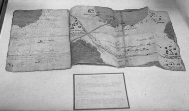 <em>Codex Coyotepec (Map and Land Grant)</em>, 1596. Ink on European paper Brooklyn Museum, A. Augustus Healy Fund, 38.4. Creative Commons-BY (Photo: Brooklyn Museum, 38.4_acetate_bw.jpg)