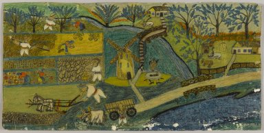 Israel Litwak (American, 1867-1960). <em>Harvest Scene in Russia</em>, n.d. Crayon and graphite on paper coated with shellac, Sheet: 9 15/16 x 20 1/8 in. (25.2 x 51.1 cm). Brooklyn Museum, Gift of the artist, 38.562. © artist or artist's estate (Photo: Brooklyn Museum, 38.562_PS1.jpg)