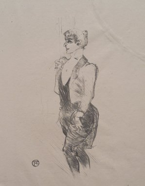 Henri de Toulouse-Lautrec (French, 1864-1901). <em>Mary Hamilton</em>, 1896. Lithograph on China paper, 11 1/8 x 6 9/16 in. (28.3 x 16.6 cm). Brooklyn Museum, Gift of Jean Goriany, 38.563 (Photo: Brooklyn Museum, 38.563.jpg)