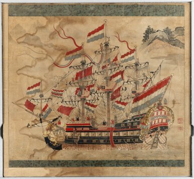 <em>Ship Painting</em>, 17th century. Ink and colors on paper, 25 3/8 x 20 7/8 in. (64.5 x 53 cm). Brooklyn Museum, Brooklyn Museum Collection, 38.569 (Photo: Brooklyn Museum, 38.569_IMLS_PS3.jpg)