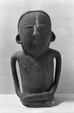 Quimbaya. <em>Male Sculpture</em>. Clay Brooklyn Museum, Museum Expedition 1938, Dick S. Ramsay Fund, 38.572. Creative Commons-BY (Photo: Brooklyn Museum, 38.572_acetate_bw.jpg)