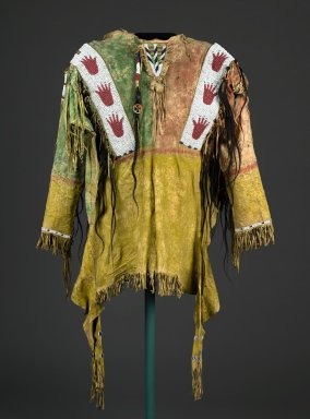 Sioux. <em>Decorated Shirt</em>, 1801-1900. Buckskin, pigment, beads, hair, feather, fibre, 46 x 67 x 5 in. (116.8 x 170.2 x 12.7 cm). Brooklyn Museum, Dick S. Ramsay Fund, 38.629. Creative Commons-BY (Photo: Brooklyn Museum, 38.629_front_PS2.jpg)