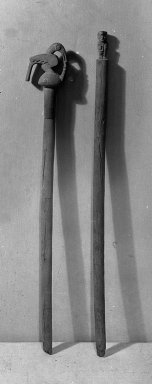 Ica. <em>Ceremonial Staff</em>. Huarango wood, 3 1/8 × 2 × 25 13/16 in. (7.9 × 5.1 × 65.6 cm). Brooklyn Museum, Frank L. Babbott Fund, 38.63. Creative Commons-BY (Photo: , 38.63_38.64_acetate_bw.jpg)