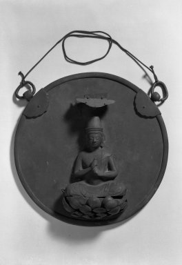 <em>Buddhist Votive Plaque (Kakebotoke)</em>, early 13th century. Bronze, 5 3/8 x 13 9/16 x 9 1/16 in. (13.7 x 34.5 x 23 cm). Brooklyn Museum, A. Augustus Healy Fund, 38.640. Creative Commons-BY (Photo: Brooklyn Museum, 38.640_acetate_bw.jpg)