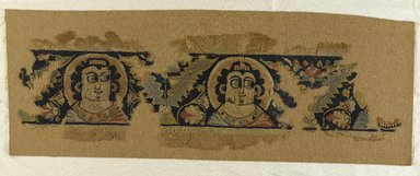 Coptic. <em>Heads Framed by Acanthus</em>, 5th-6th century C.E. Wool, 7 3/4 x 25 1/4 in. (19.7 x 64.1 cm). Brooklyn Museum, Charles Edwin Wilbour Fund, 38.684. Creative Commons-BY (Photo: Brooklyn Museum, 38.684_PS9.jpg)