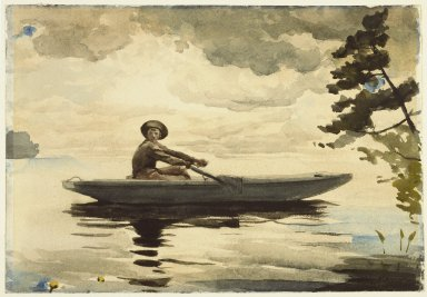Winslow Homer (American, 1836-1910). <em>The Boatman</em>, 1891. Watercolor with graphite pencil underdrawing on thick, textured wove paper, 13 15/16 x 20 in. (35.4 x 50.8 cm). Brooklyn Museum, Bequest of Mrs. Charles S. Homer, 38.68 (Photo: Brooklyn Museum, 38.68_SL3.jpg)