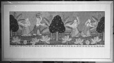<em>Fragment of Temple Hanging</em>, 18th century. Painted plain cloth weave cotton, 19 7/8 x 53 1/8 in. (50.5 x 135 cm). Brooklyn Museum, By exchange, 38.72. Creative Commons-BY (Photo: Brooklyn Museum, 38.72_framed_acetate_bw.jpg)