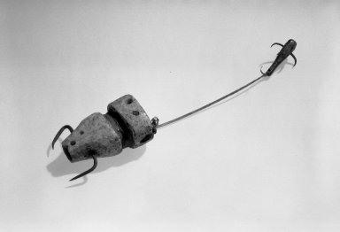 Eskimo. <em>Fishing Tackle (hook and lines)</em>, 19th century (possibly). Whalebone, intestines, metal, 8 1/4 x 1 9/16in. (21 x 4cm). Brooklyn Museum, Gift of Frank K. Fairchild, 38.732. Creative Commons-BY (Photo: Brooklyn Museum, 38.732_view1_acetate_bw.jpg)