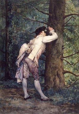 Etienne Prosper Berne-Bellecour (French, 1838-1910). <em>The Lover</em>, 1869. Watercolor on heavy wove paper, Sheet: 14 7/16 x 10 3/16 in. (36.7 x 25.9 cm). Brooklyn Museum, Gift of Frederic B. Pratt , 38.734 (Photo: Brooklyn Museum, 38.734.jpg)