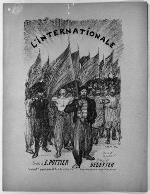 Théophile Alexandre Steinlen (French, 1859-1923). <em>L'Internationale</em>, 1895. Lithograph on wove paper, 11 x 7 3/16 in. (28 x 18.3 cm). Brooklyn Museum, Gift of Paul Prouté, 38.735 (Photo: Brooklyn Museum, 38.735_acetate_bw.jpg)