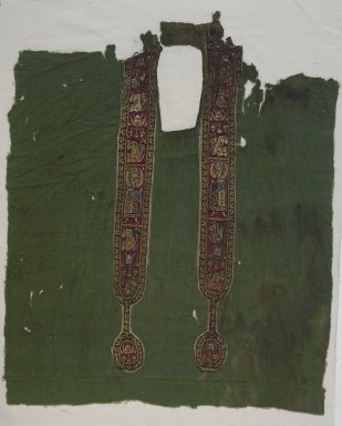 Coptic. <em>Green Tunic Front</em>, 6th-8th century C.E. Wool, possibly silk, 31 1/2 x 10 5/8 in. (80 x 27 cm). Brooklyn Museum, Charles Edwin Wilbour Fund, 38.748. Creative Commons-BY (Photo: Brooklyn Museum, 38.748.jpg)