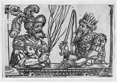 Erhard Schön (German, 1491-1542). <em>Sennacherib and Nebuchadnezzar</em>, 1531. Woodcut on laid paper, 5 1/8 x 7 7/16 in. (13 x 18.9 cm). Brooklyn Museum, Museum Collection Fund, 38.768 (Photo: Brooklyn Museum, 38.768_bw.jpg)