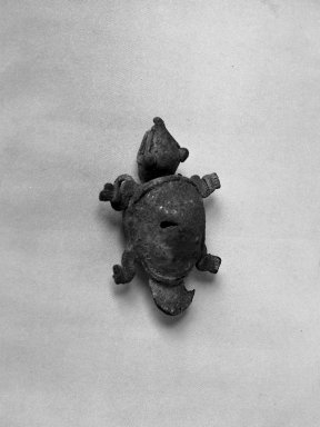 Coclé. <em>Figure of a Turtle Over a Bell</em>. Gold plated copper Brooklyn Museum, Museum Expedition 1938, Dick S. Ramsay Fund, 38.804. Creative Commons-BY (Photo: Brooklyn Museum, 38.804_acetate_bw.jpg)