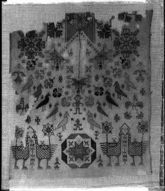 <em>Egypto-Arabic Textile</em>. Silk embroidery on linen Brooklyn Museum, Charles Edwin Wilbour Fund, 38.824. Creative Commons-BY (Photo: Brooklyn Museum, 38.824_acetate_bw.jpg)