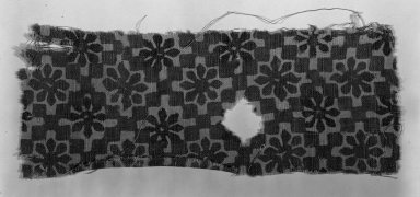<em>Egypto-Arabic Textile, Fostate Print found in Egypt</em>, 12th-15th century. Printed cotton, 3 1/8 x 8 1/4 in. (8 x 21 cm). Brooklyn Museum, Charles Edwin Wilbour Fund, 38.830. Creative Commons-BY (Photo: Brooklyn Museum, 38.830_acetate_bw.jpg)