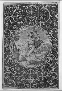 Adriaen Collaert (Flemish, 1560-1618). <em>Mercury</em>, n.d. Engraving on laid paper, 5 1/2 x 3 9/16 in. (13.9 x 9.1 cm). Brooklyn Museum, Museum Collection Fund, 38.850 (Photo: Brooklyn Museum, 38.850_bw.jpg)