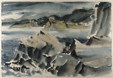 Adolf Arthur Dehn (American, 1895-1968). <em>Sea and Rocks</em>, 1938. Watercolor and black media (chalk, soft pencil, or conté) on cream, medium thick, medium textured wove paper (BFK Rives), Sheet: 15 1/8 x 22 3/8 in. (38.4 x 56.8 cm). Brooklyn Museum, Dick S. Ramsay Fund, 39.103. © artist or artist's estate (Photo: Brooklyn Museum, 39.103_SL1.jpg)