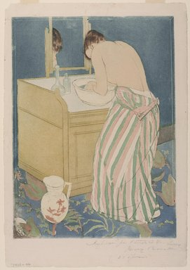 Mary Cassatt (American, 1844-1926). <em>La Toilette</em>, ca. 1891-1892. Drypoint and aquatint on laid paper, Sheet: 17 1/16 x 11 7/8 in. (43.3 x 30.2 cm). Brooklyn Museum, Museum Collection Fund, 39.107 (Photo: , 39.107_PS9.jpg)