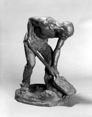 Chester Beach (American, 1881-1956). <em>The Stoker</em>, 1912. Bronze, 22 x 10 1/2 x 17 in. (55.9 x 26.7 x 43.2 cm). Brooklyn Museum, Gift of Samuel A. Lewisohn, 39.116. Creative Commons-BY (Photo: Brooklyn Museum, 39.116_bw.jpg)