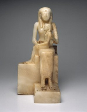 <em>Statue of Queen Ankhnes-meryre II and Her Son, Pepy II</em>, ca. 2288-2224 or 2194 B.C.E. Egyptian alabaster, 15 7/16 x 9 13/16 in. (39.2 x 24.9 cm). Brooklyn Museum, Charles Edwin Wilbour Fund, 39.119. Creative Commons-BY (Photo: Brooklyn Museum, 39.119_front_SL1.jpg)