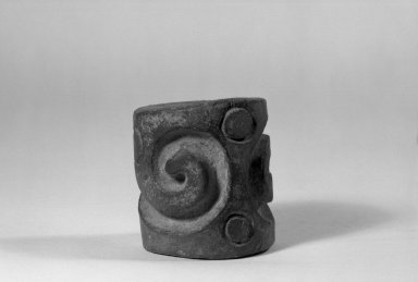 <em>Heavy Solid Cylinder Stamp</em>. Gray pottery Brooklyn Museum, Ella C. Woodward Memorial Fund, 39.123.26. Creative Commons-BY (Photo: Brooklyn Museum, 39.123.26_acetate_bw.jpg)