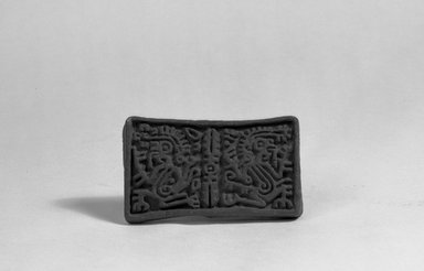 Possibly Aztec. <em>Stamp</em>, 1000-1500. Ceramic, 1 3/4 x 1 3/8 x 2 5/16 in. (4.4 x 3.5 x 5.9 cm). Brooklyn Museum, Ella C. Woodward Memorial Fund, 39.123.45. Creative Commons-BY (Photo: Brooklyn Museum, 39.123.45_acetate_bw.jpg)
