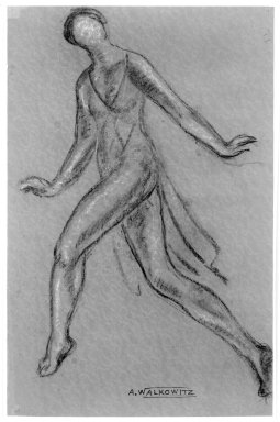 Abraham Walkowitz (American, born Russia, 1878-1965). <em>Isadora Duncan #4</em>, ca. 1917. Pastel on magenta paper, 20 x 13 1/8 in. (50.8 x 33.3 cm). Brooklyn Museum, Gift of the artist, 39.149 (Photo: Brooklyn Museum, 39.149_bw.jpg)