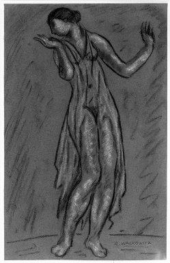 Abraham Walkowitz (American, born Russia, 1878-1965). <em>Isadora Duncan #6</em>, ca. 1917. Pastel on pinkish-purple paper, 18 15/16 x 12 1/16 in. (48.1 x 30.6 cm). Brooklyn Museum, Gift of the artist, 39.151 (Photo: Brooklyn Museum, 39.151_acetate_bw.jpg)